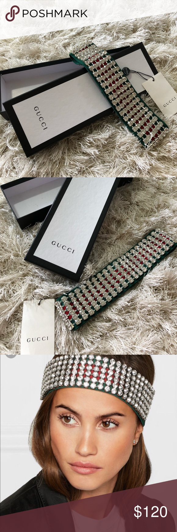 402268c7ff8 Gucci Headband Crystal Gucci Web Stripes Color Stretchy headband Brand new with  tags and box Gucci