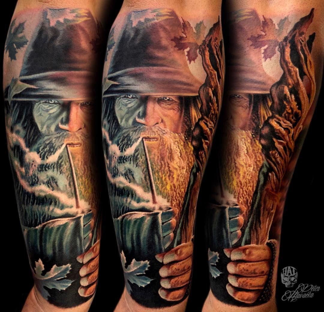 Gandalf Tattoo By Peter Hlavacka Best Tattoos Pinterest Kaos Pria Pullampampbear Shirt Black Grey