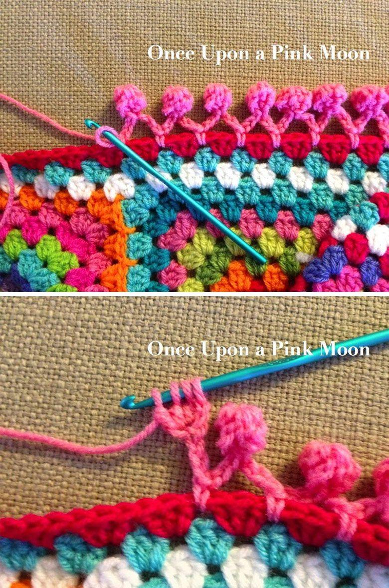 Pom Pom Edging Crochet Tutorial Granny Pinterest Crochet