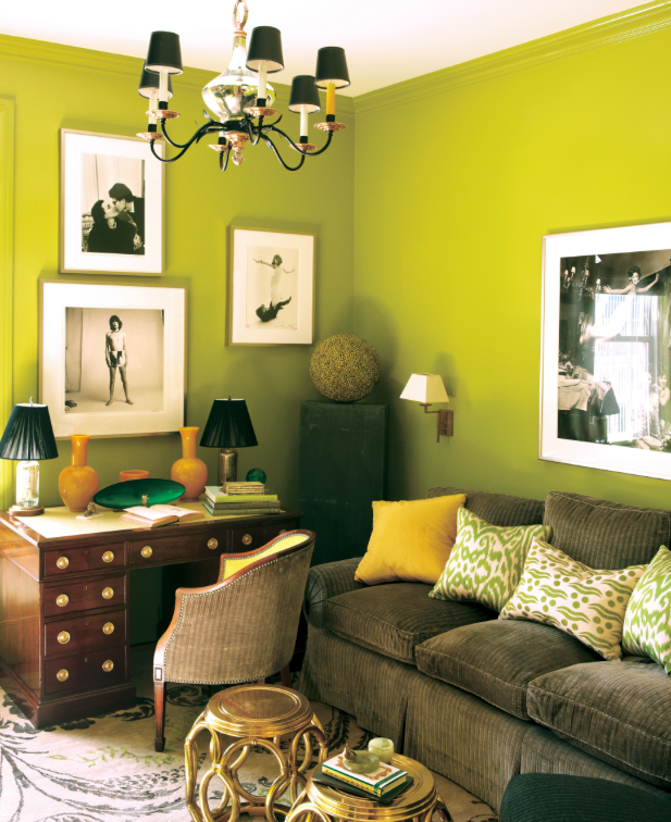 Chartreuse walls paired with yellow accents in Peking glass, hits of ...