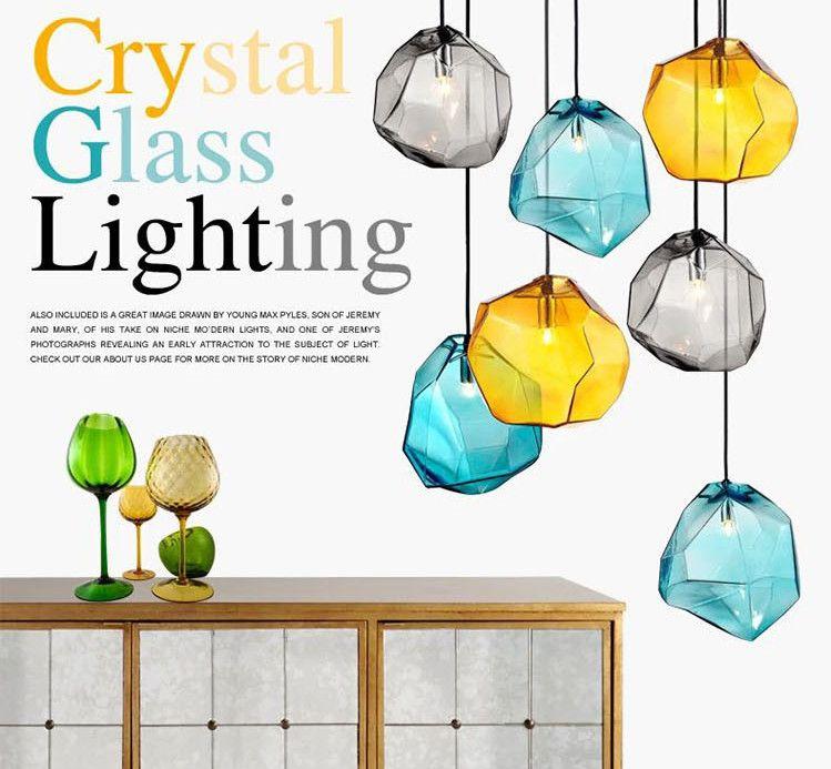 Goedkope Kleurrijke crystal glas steen hanglamp door Italië ...