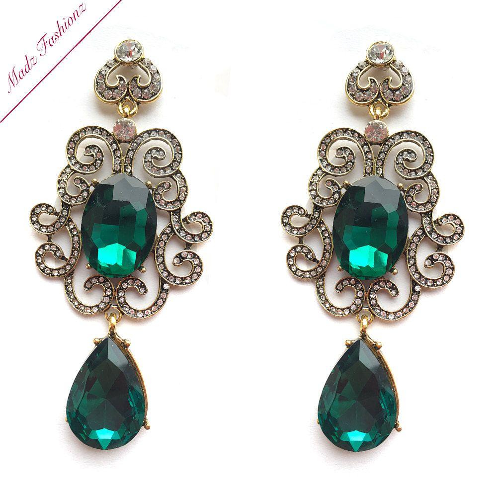 Antique Gold and emerald green earrings big long bridal earrings chandelier  earrings wedding earrings bridesmaid jewelry - Antique Gold And Emerald Green Earrings Big Long Bridal Earrings