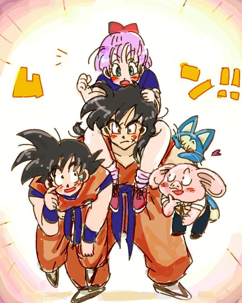 Yamcha cargando a bulma goku puar y oolong dbz - Goku e bulma a letto ...