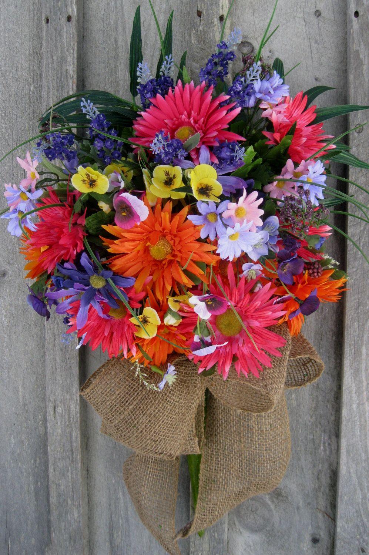Easter wedding bouquets  Summer Wreath Spring Garden Bouquet Country Floral Wreath Wedding