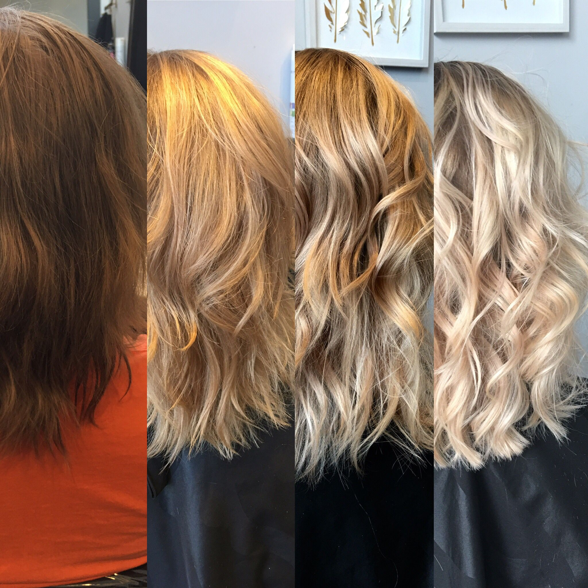 The Process Of Dark To Blonde Before And After Lkhairstudios Brunette To Blonde Dark To Light Hair Red Blonde Hair