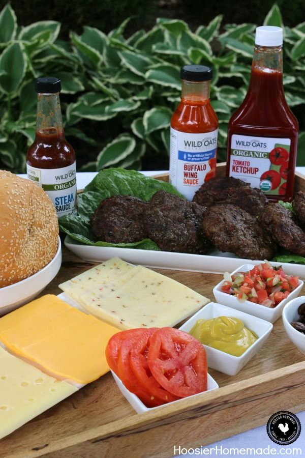 Serve your guests this Burger Bar and let them mix and match to make their own one of a kind ultimate burger! Add a little kick with Buffalo Sauce, or add extra flavor with Steak Sauce! Your next Cookout will be remembered forever! Be sure to save by pinning to your Recipe Board!