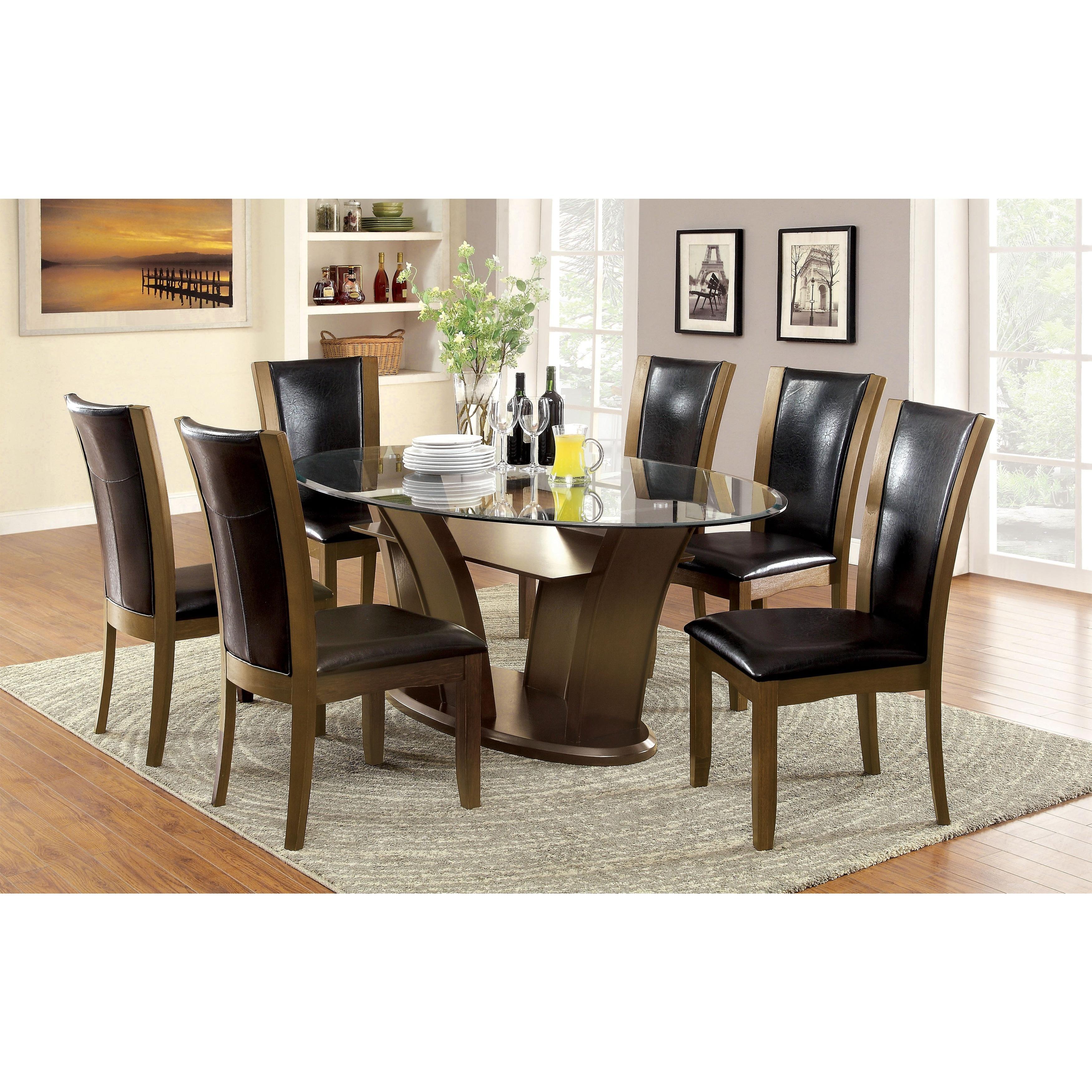 Furniture Of America Marion Rectangular Gl Top Dining
