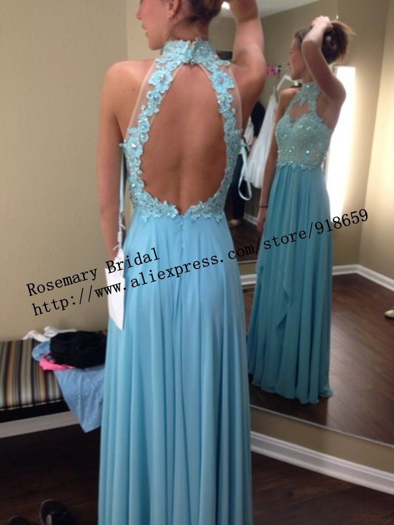 Light blue high collar open back lace applique peals a line chiffon