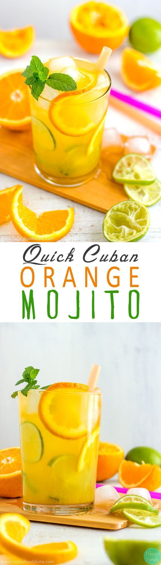 Easy Cuban Orange Mojito - Ultimate summer cocktail recipe! Only 5 ingredients and super easy to make! | happyfoodstube.com