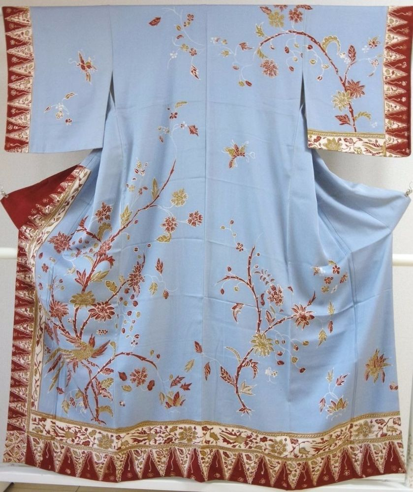 Kimono Dress Japan Geisha costume Oriental used Vintage Houmongi 165_B06S7                                                                                                                                                     More