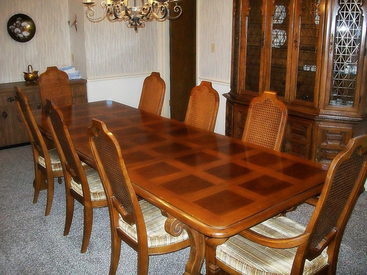 Dining Room Table Pads Cool Mcferran Home Furnishings  Elegant Mansion 8 Piece Dining Room Design Decoration