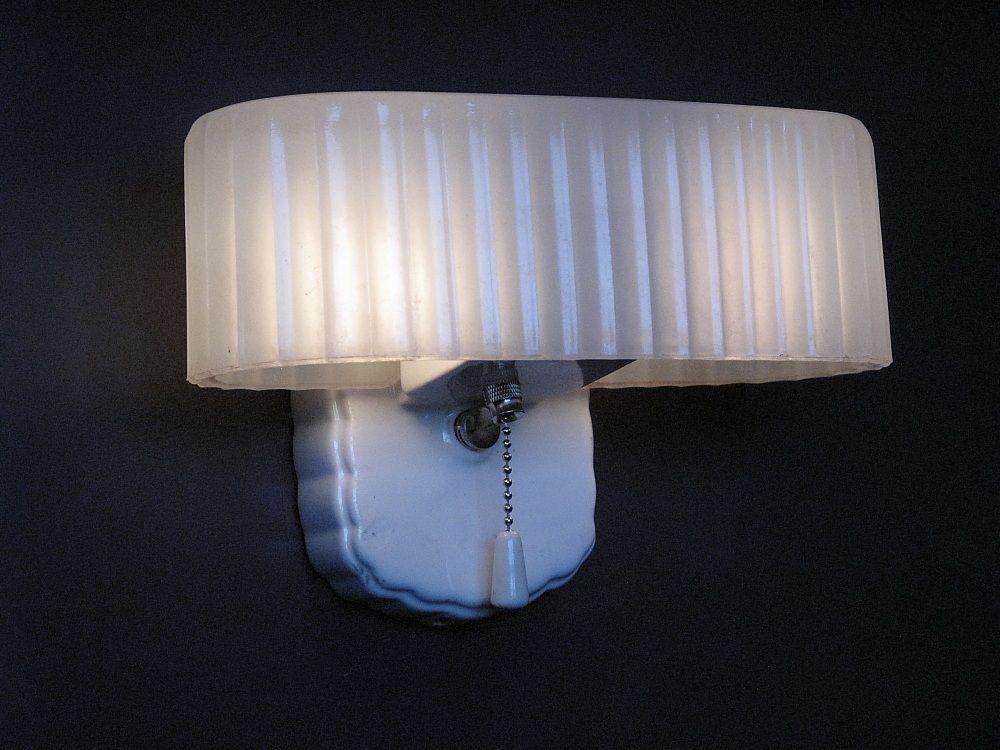 Vintage 2 Bulb White Porcelain Bath Fixture With Original Shade