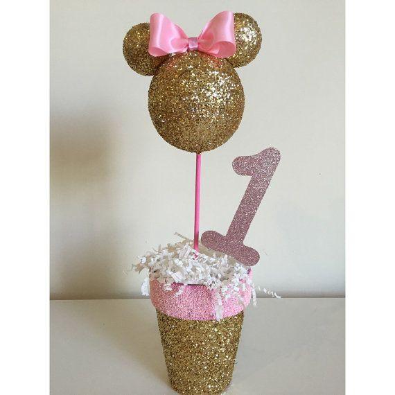 Centro De Mesa De Minnie Mouse Rosa Y Oro Por Lovelbp En