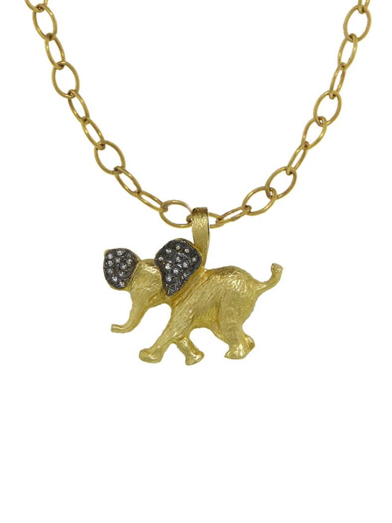 Elephant Charm - Yellow Gold Handcrafted in 22-karat yellow gold. Detailed in diamonds. Diamonds total 0.06 carats. Charm measures 1 1/16-in. across. Finished with a 26 1/2-in. long leather necklace.