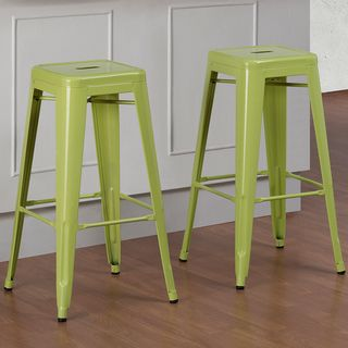 Tabouret inch Limeade Metal Bar Stools Set of 2 by I Love Living