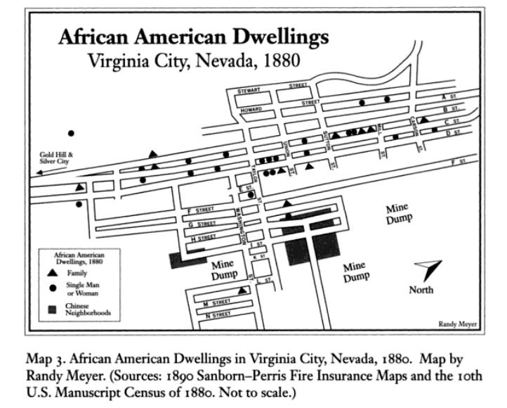 Map of American Dwellings in Virginia City, Nevada, 1880