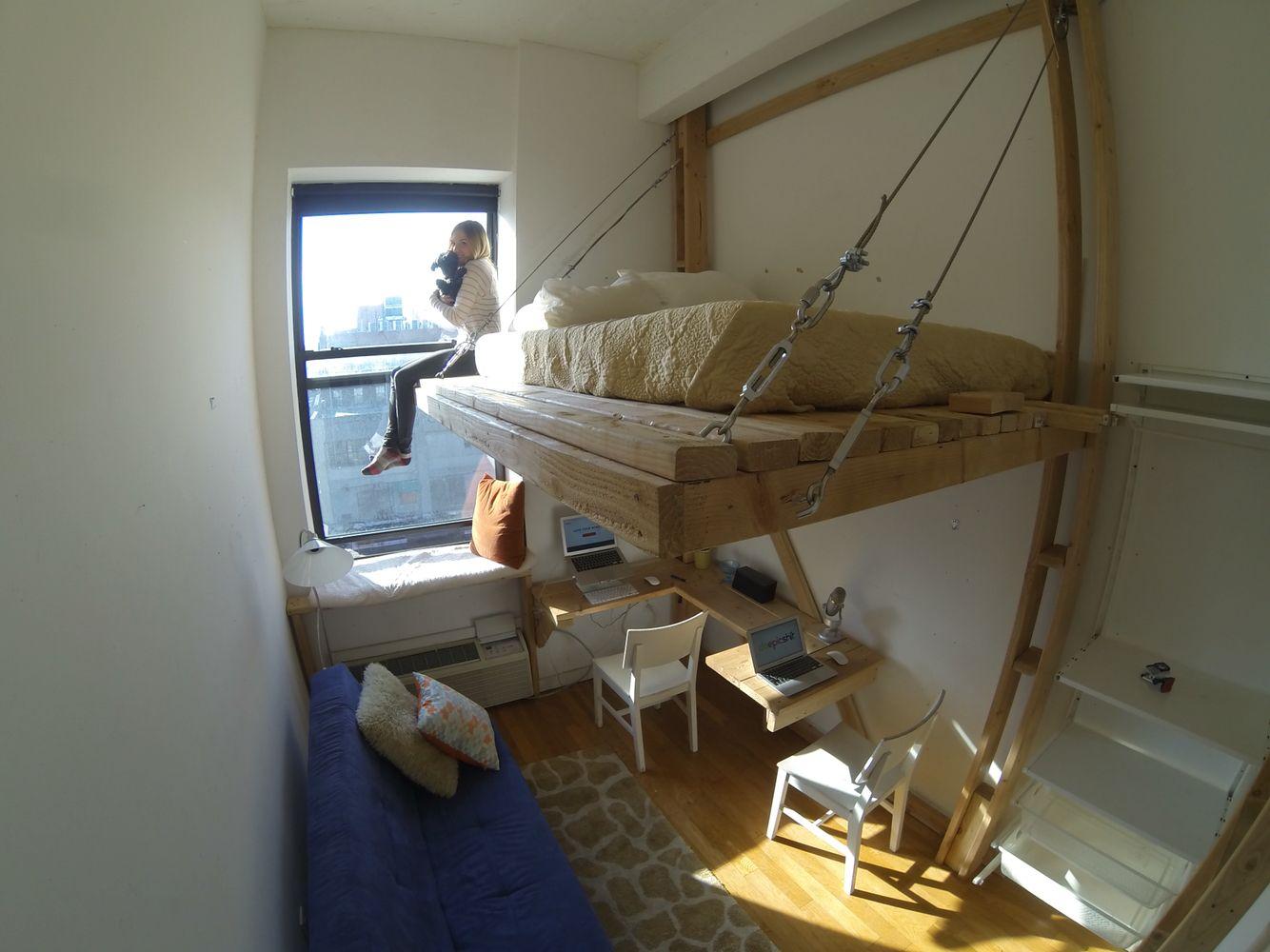 DIY loft bed - floating bed - suspension bed - Brooklyn. ----