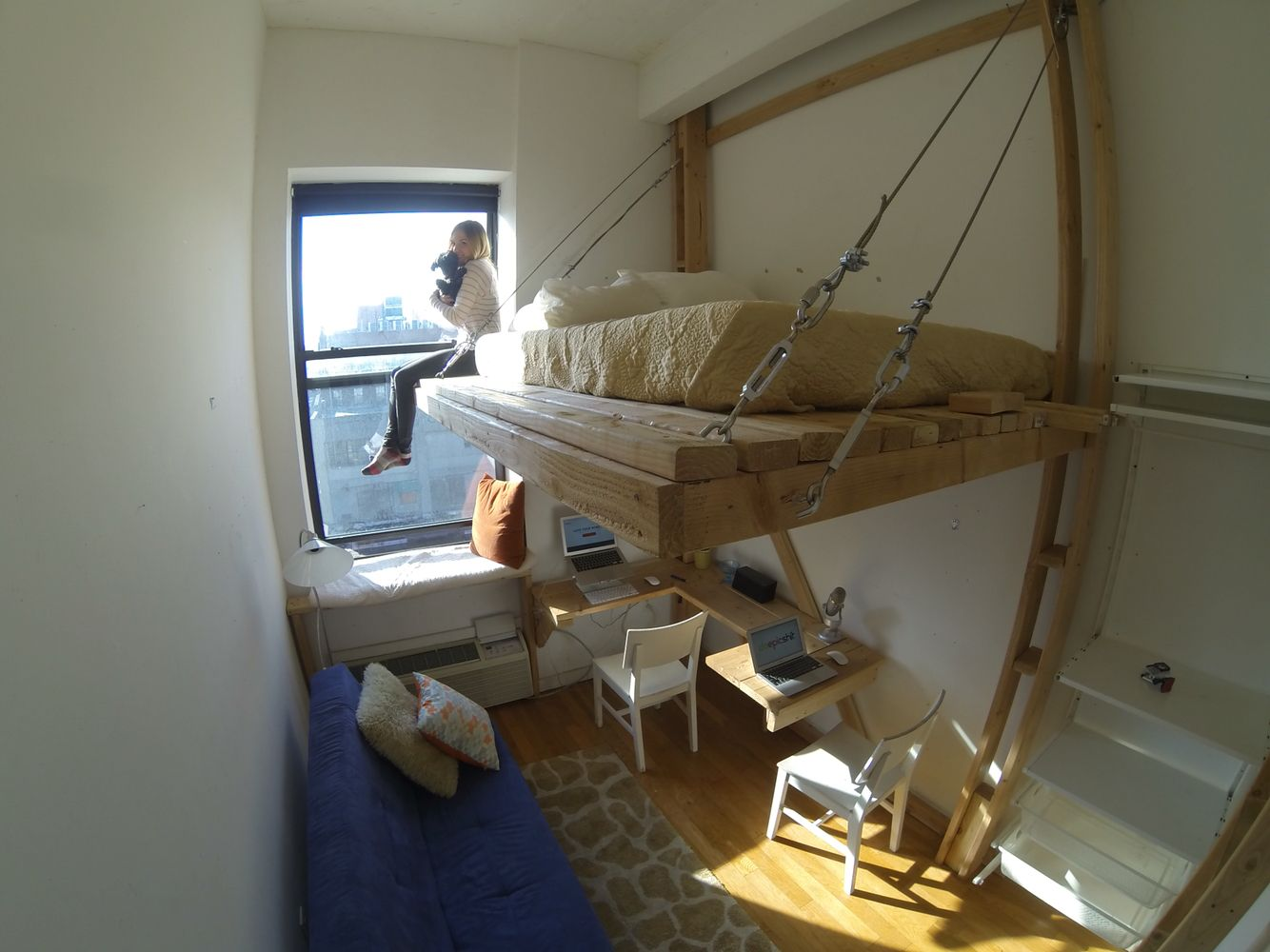 Diy Loft Bed Floating Bed Suspension Bed Brooklyn Loftice 1 0 Floating Bed Edition The Giant Concrete Beam Diy Loft Bed Queen Loft Beds Loft Bed