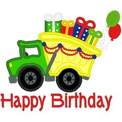 Happy Birthday Truck Applique