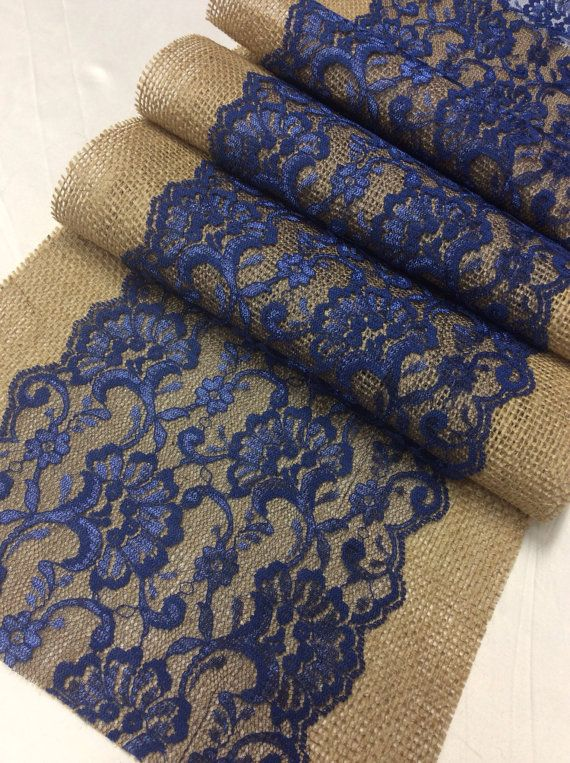 Burlap Lace Table Runner/Navy Blue Lace/ By LovelyLaceDesigns