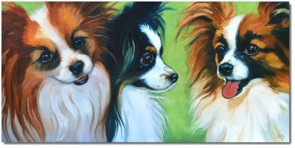 RKIves Original Oil Painting: Three Papillon Pals - Butterfly Dogs #Realism