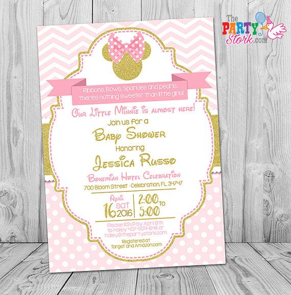 Minnie Mouse Baby Shower Invitations Pink And Gold Minnie