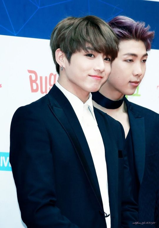 Jungkook be looking fine but Namjoon looks as if he is sleeping with his eyes open Hahaha
