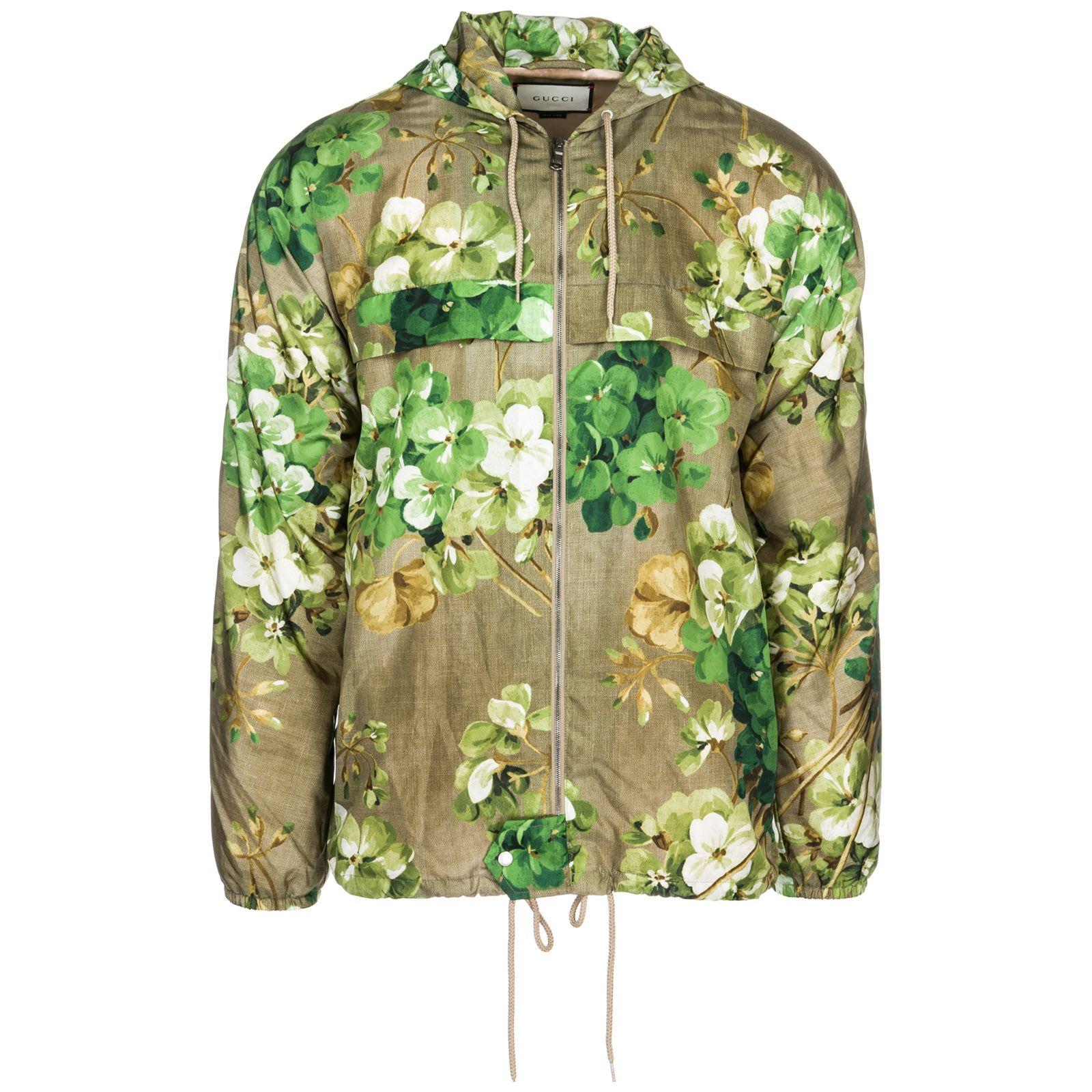 Gucci Men S Outerwear Jacket Blouson Cappuccio In Green Modesens Mens Outerwear Jacket Gucci Floral Outerwear Jackets [ 1600 x 1600 Pixel ]
