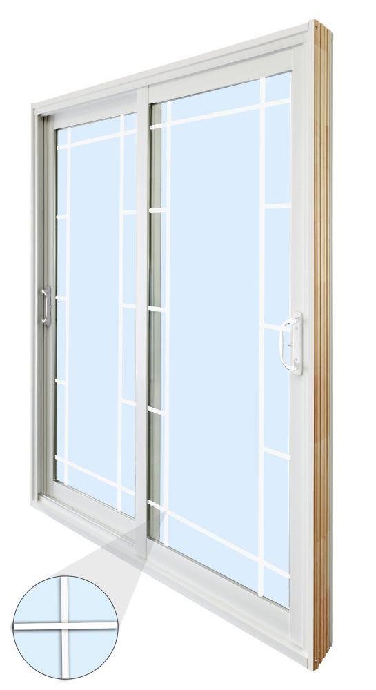 Double Sliding Patio Door Prairie Style Internal Grill 6 Ft