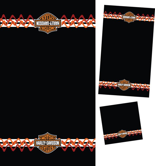 Harley Davidson® 3 Piece Towel Bath Set Stripes U0026 Waves