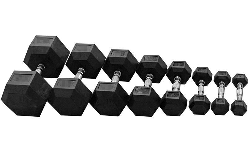 Hex Dumbbell Rubber Coat Dumbells 1kg 10kg Commercial Weights Chrome Handle Pair Ebay Hex Dumbbells Gym Weights Dumbbell