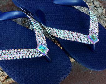 e899eaa1ca041 Custom Crystal Flip Flops Aurora Boreale Rocks w/ Swarovski AB ...
