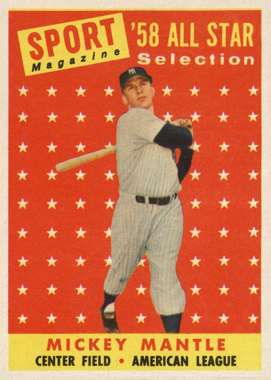 1958 topps mickey mantle all star baseball cards