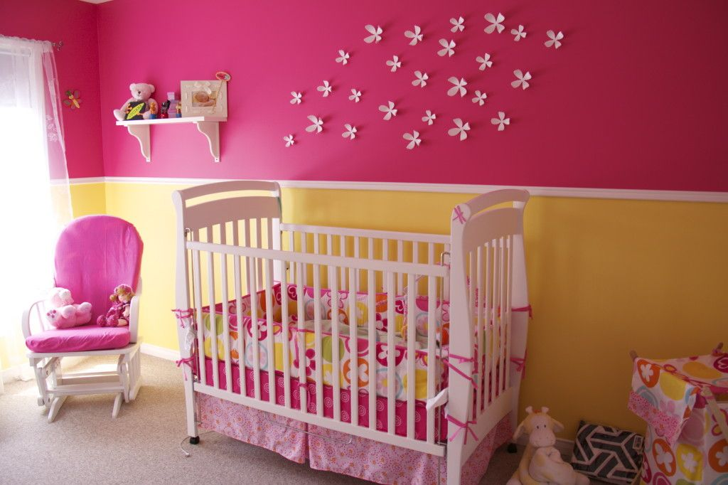 Summer Fun Colors Baby Girl Room Yellow And Pink Nursery Baby