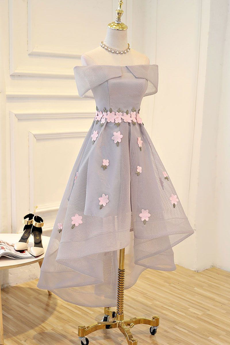 Gray applique high low prom dress gray evening dress dress