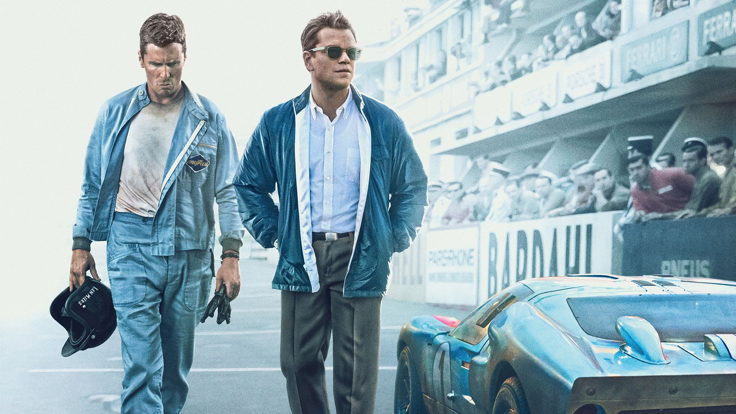 2560x1440 Christian Bale Ford V Ferrari 2019 Movie Matt Damon
