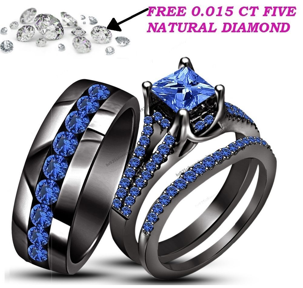 Blue Sapphire Trio Wedding Ring His Hers Bands Set And 10k Black