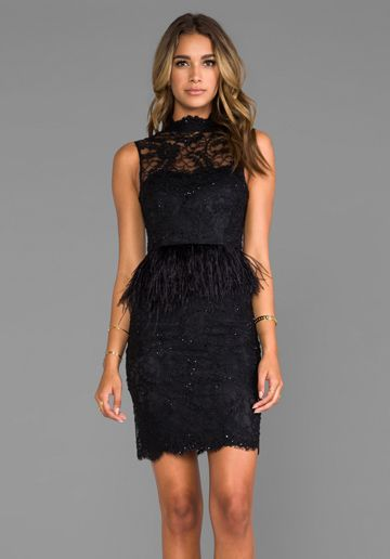 2a44326e67 Alice Olivia Patricia Short Feather Peplum Gown in Black | THE ...
