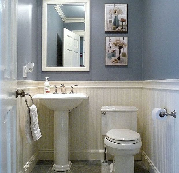 Dunstable blue and white half bath half baths bath and for Small 3 piece bathroom ideas
