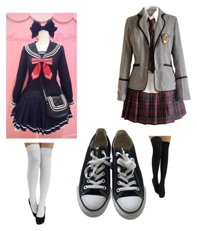 """Japanese uniform"" by smilelykristenjoy on Polyvore featuring Converse"