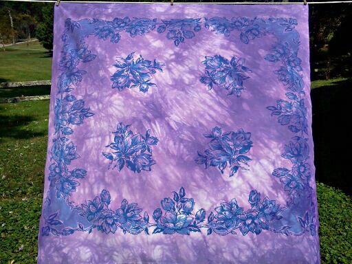 Purple Tie Dye Tablecloth  Purple Tie Dye  by TopStitchStudios