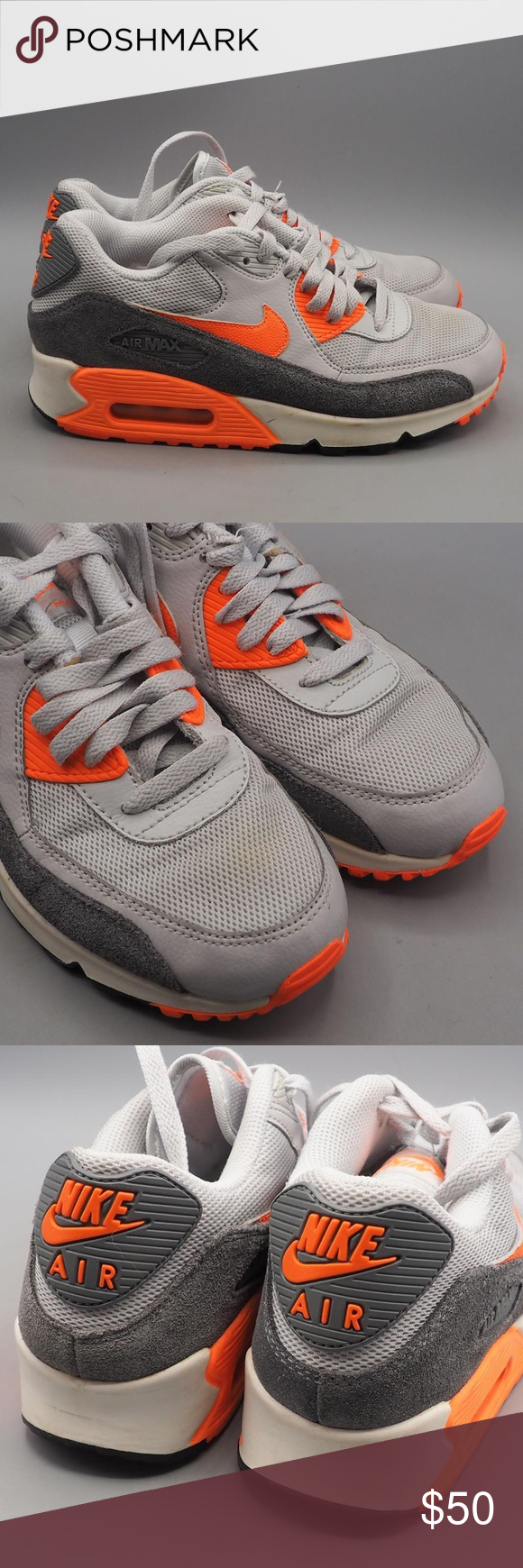 Nike Air Max 90 Essential Gray Orange White Size 8 Nike Air