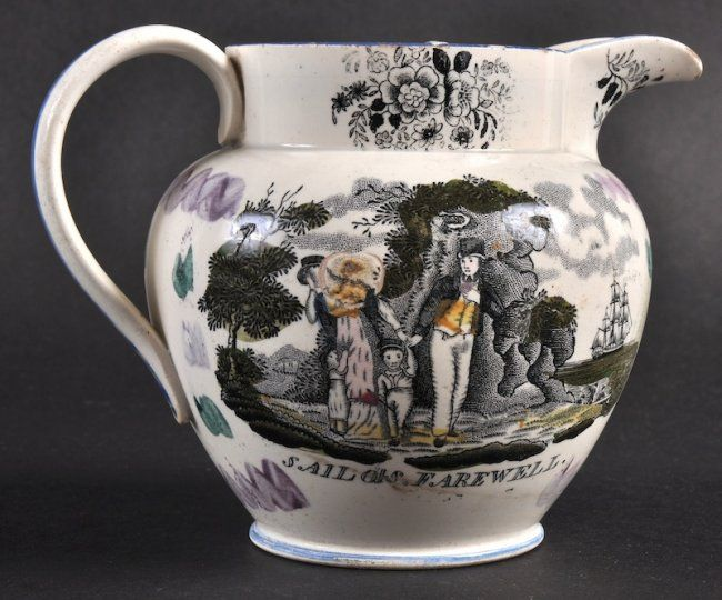 "AN 18TH CENTURY ENGLISH POTTERY JUG printed with ""A Eas : Lot 1142"