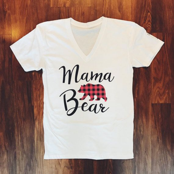 00a68118 Adult Unisex Cotton V-Neck Shirt with black and buffalo plaid vinyl I can  do matching baby bear tees and onesies by request