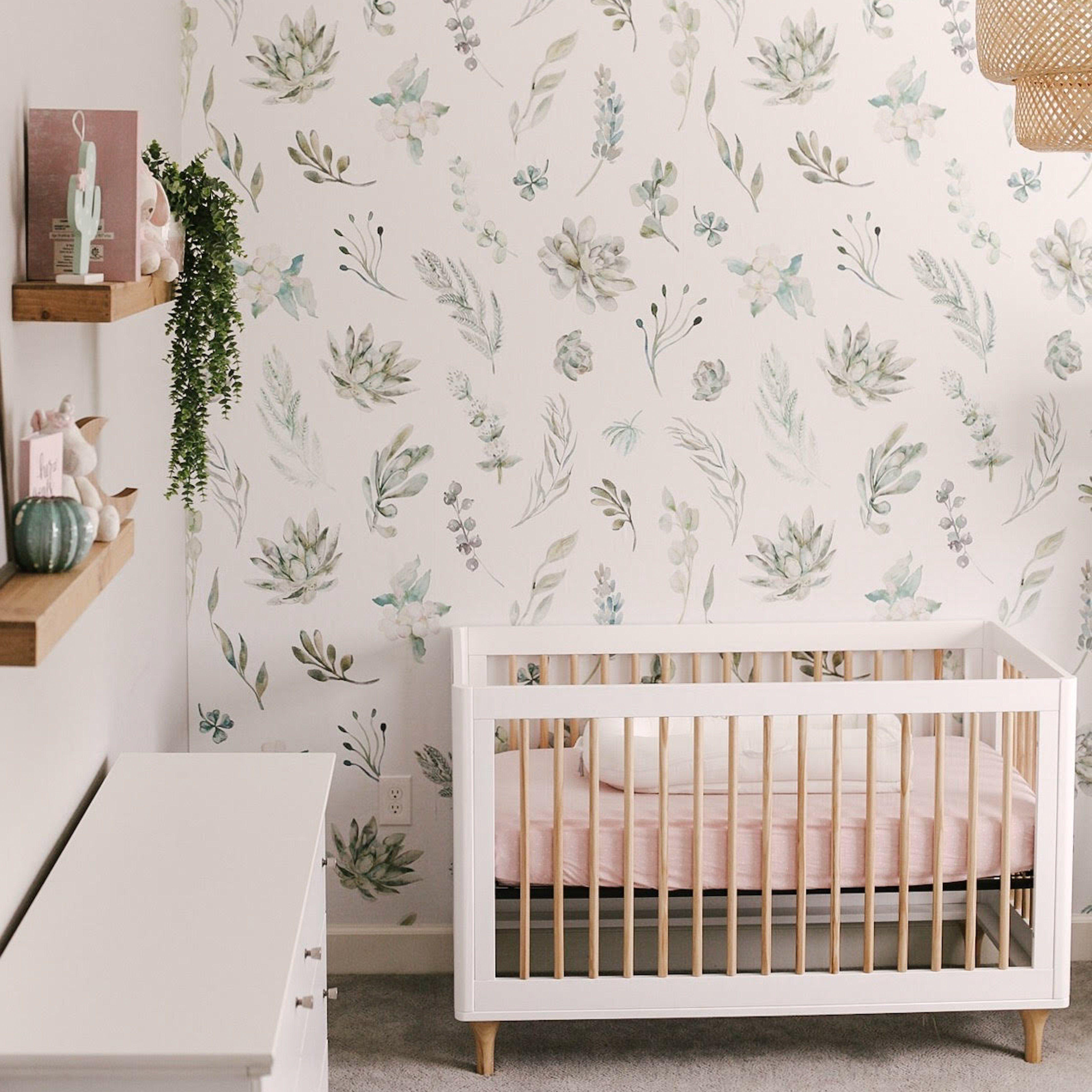 Blush Nursery With Neutral Textures: Nursery Wallpaper