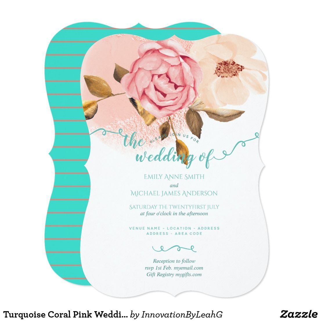 Turquoise Coral Pink Wedding Invitations Flowers | Zazzle.com #turquoisecoralweddings Turquoise Coral Pink Wedding Invitations Flowers #turquoisecoralweddings