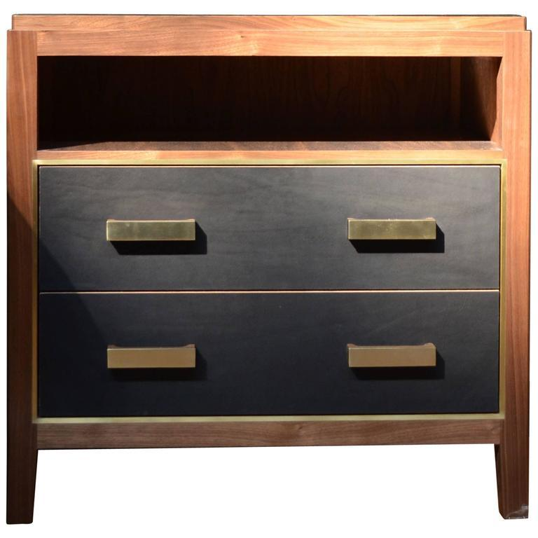Abuelo Mexican Midcentury Nightstand 2 Drawer Open Shelf Walnut Saddle Leather In 2020 Mid Century Nightstand Easy Home Decor Saddle Leather