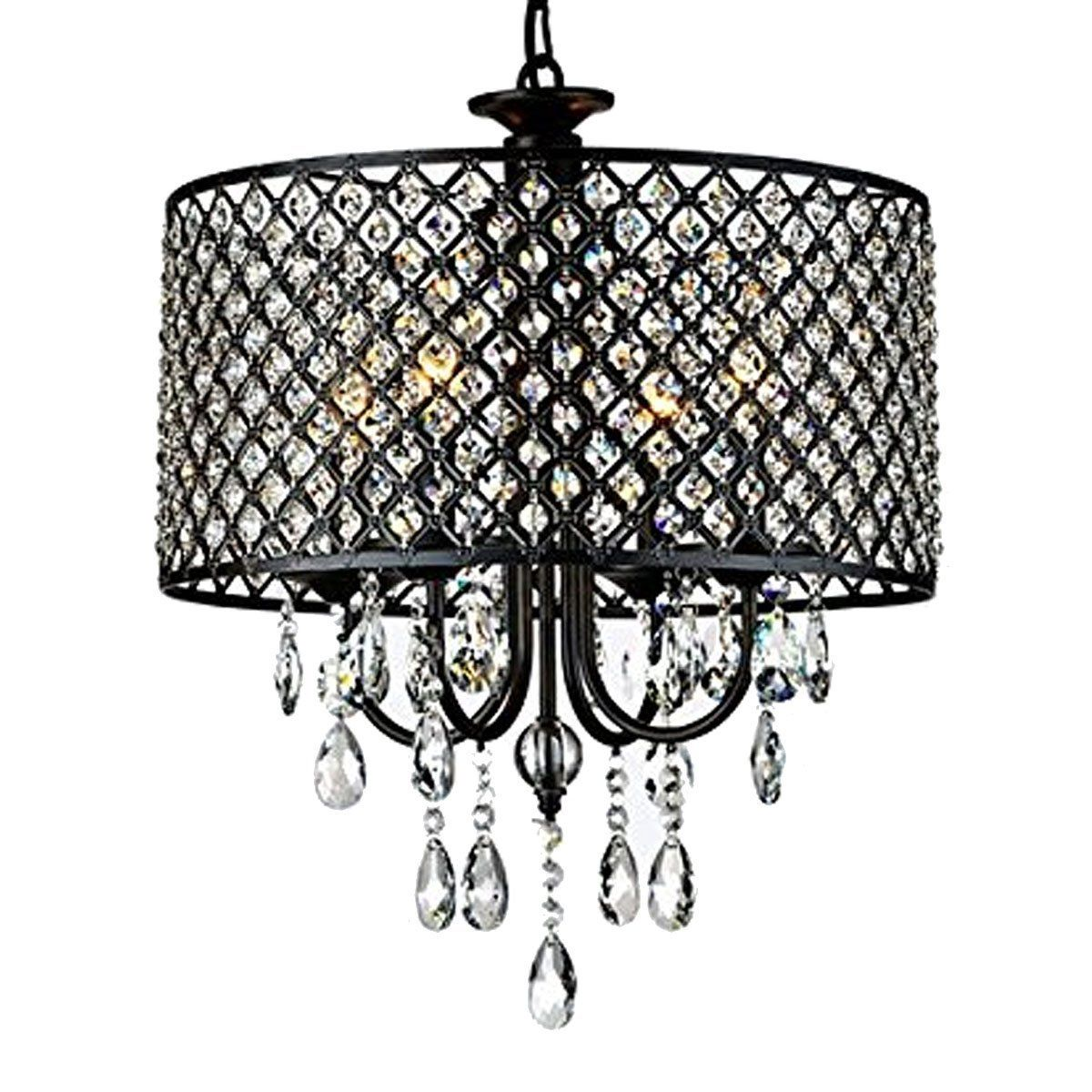 Homestia antique black 4 light round crystal chandelier homestia antique black 4 light round crystal chandelier chandeliers amazon canada aloadofball Choice Image