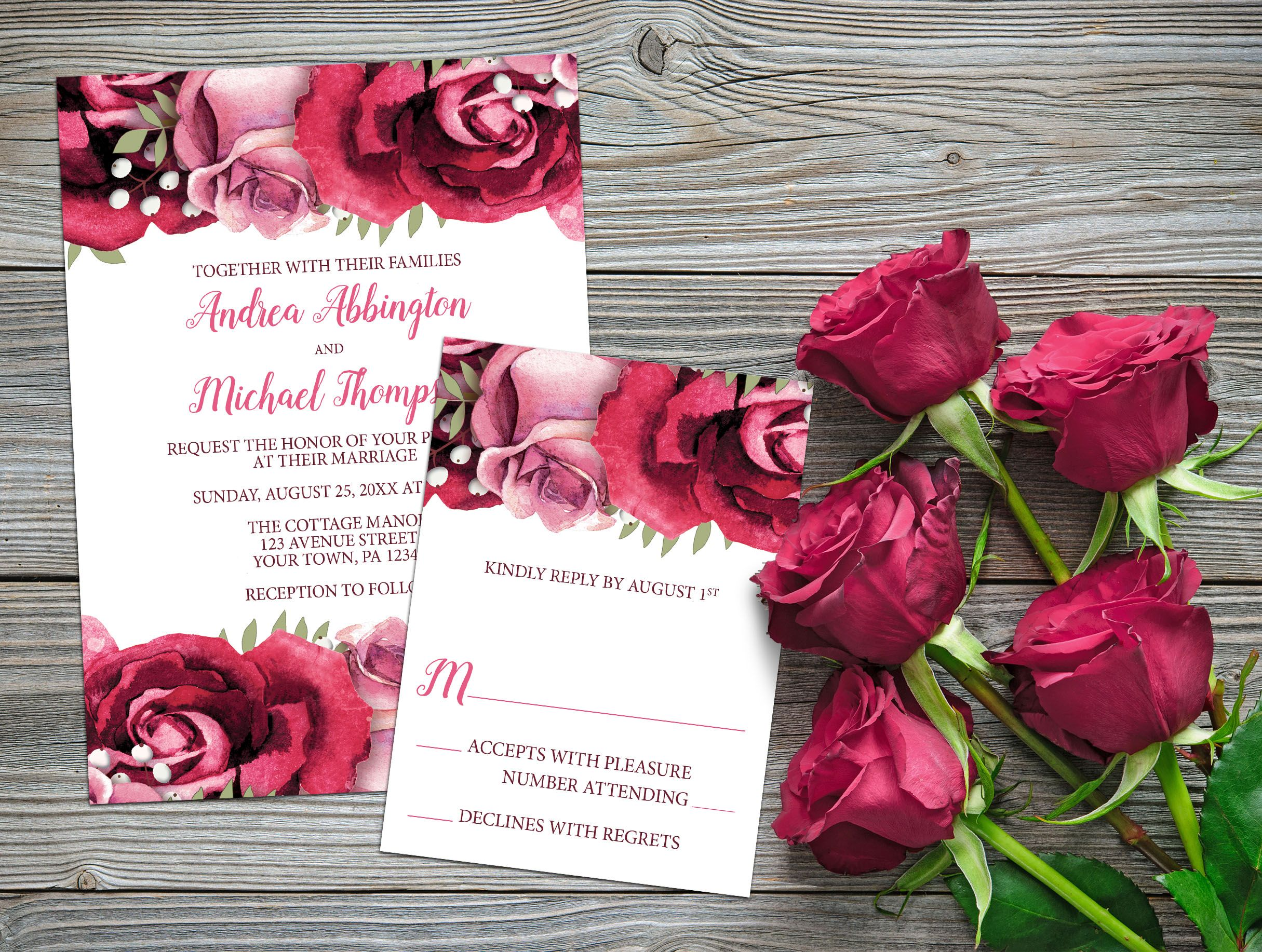 Burgundy and pink rose wedding invitation and