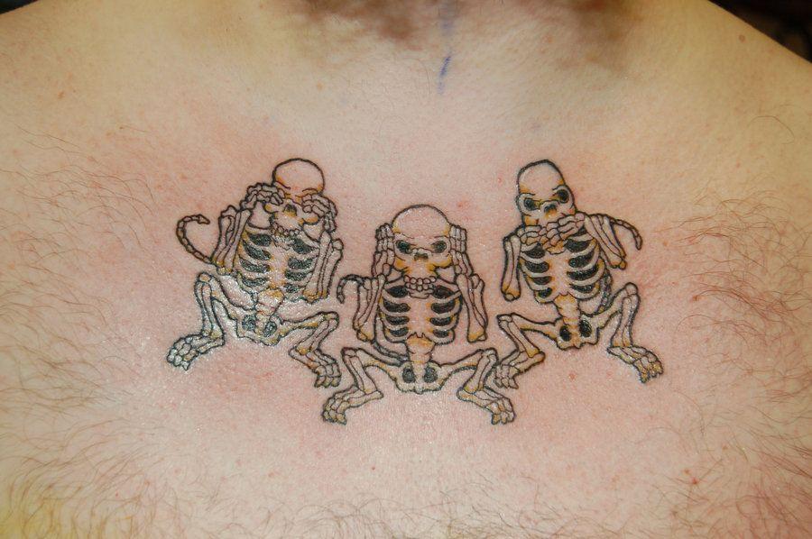 0e098eb3d three wise monkey skeletons tattoo by yayzus on DeviantArt | Tattoos ...